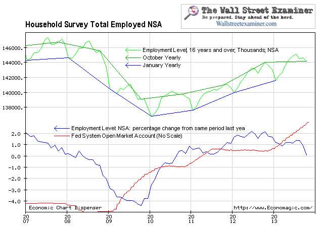 Household Survey Shows Tepid Growth in Total and Full Time Jobs, No Effect from QE